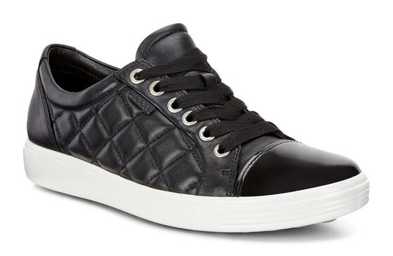 ECCO Womens Soft 7 Quilted Tie (BLACK/BLACK)