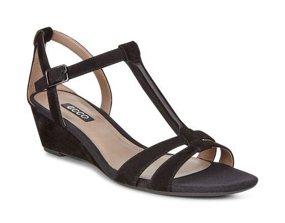 ECCO Rivas 45 T-Strap Wedge Sandal (BLACK)