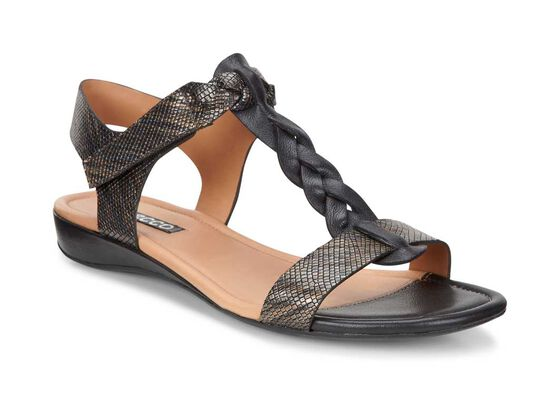 ECCO Bouillion T-Strap Sandal (BLACK/BLACK-MULTI METALLIC)