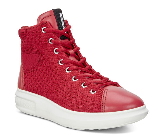 ECCO Womens Soft 3 High Top (CHILI RED/CHILI RED)