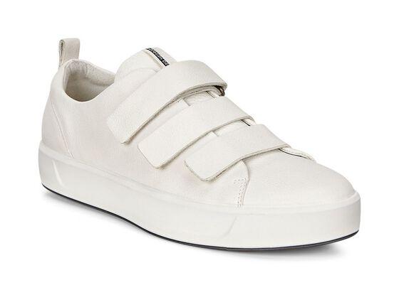 ECCO Womens Soft 8 3-Strap Sneaker (WHITE)
