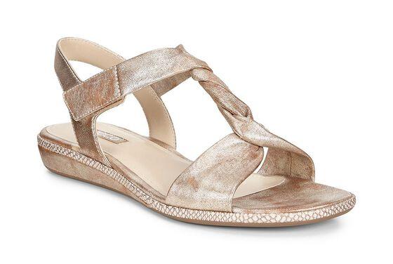 ECCO Bouillon Sandal 3.0 Metallic T-Strap Sandal (GOLD)