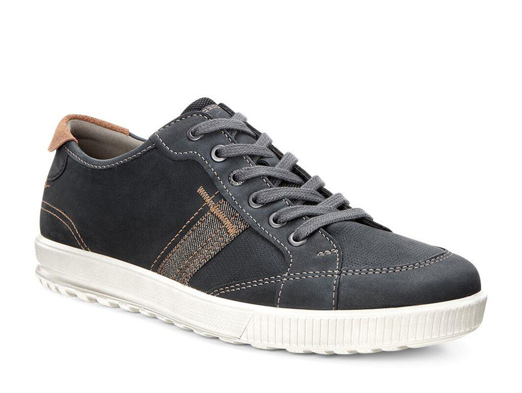 Mens Ecco Ennio Retro Sneakers Black/Cognac VAK39096