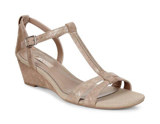 ECCO Rivas 45 T-Strap Wedge Sandal (NAVAJO BROWN)