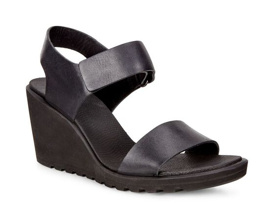 ECCO Freja Wedge Strap Sandal (BLACK)
