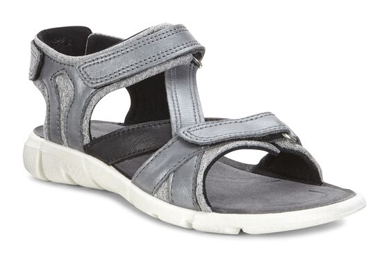 ECCO Kids Intrinsic Cross Strap Sandal (CONCRETE-BLACK/TITAN-SILVER/BLACK)