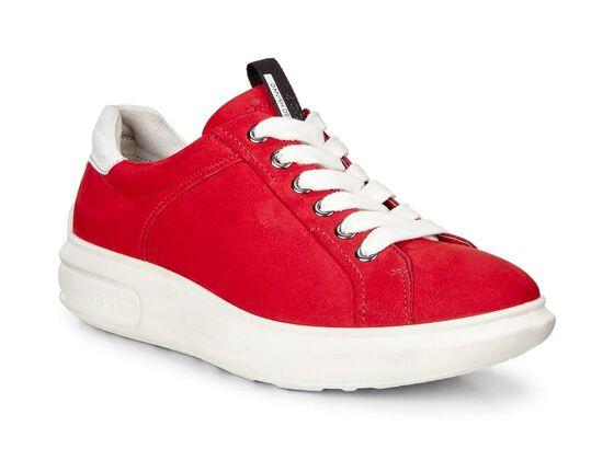 ECCO Womens Soft 3 Sneaker (CHILI RED/WHITE)