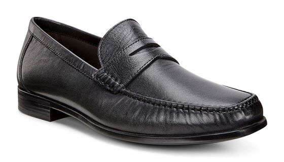 ECCO Mens Dress Moc (BLACK)