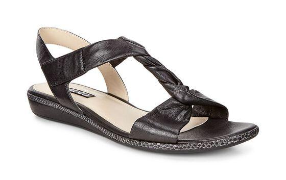 ECCO Bouillon Sandal 3.0 Metallic T-Strap Sandal (BLACK)