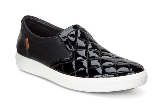 ECCO Womens Soft 7 Quilted Slip On (BLACK/BLACK)