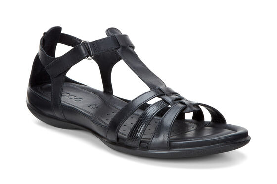 ECCO Flash T-Strap Sandal (BLACK/BLACK)