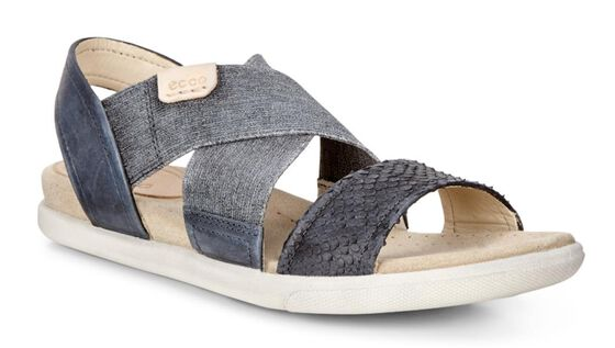 ECCO Damara 2-Strap Sandal (BLACK/BLACK/POWDER)