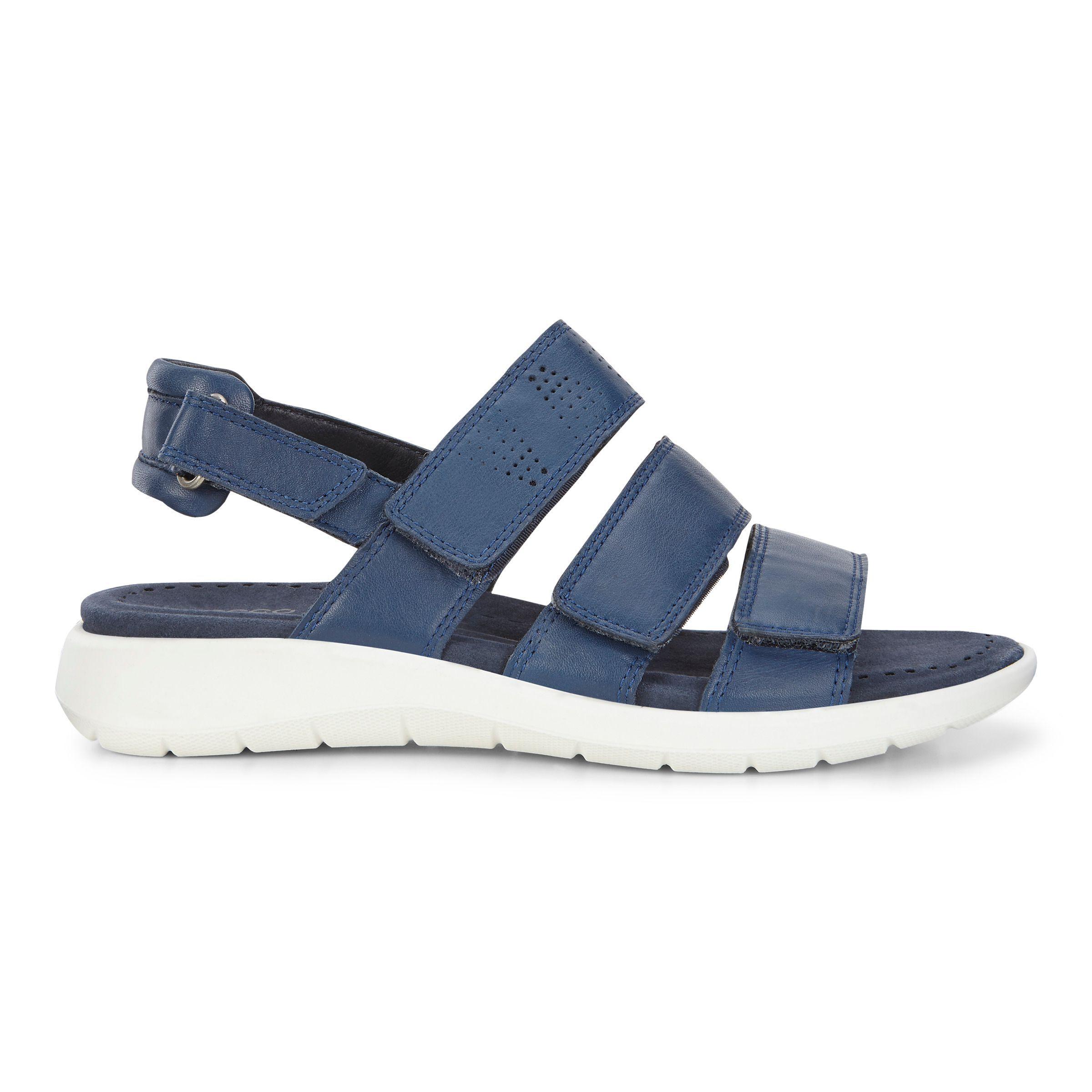 Ecco Store Ecco Womens Babett Sandal 3 Strap Brand New White Leather Multi Sizes
