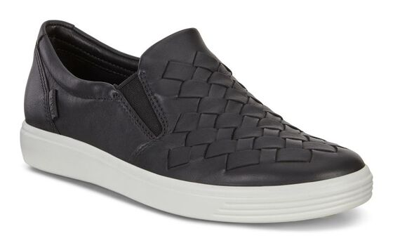 ECCO Womens Soft 7 Woven Slip On (BLACK)