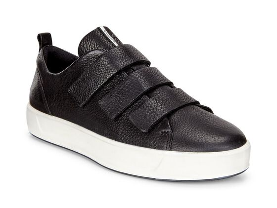 ECCO Womens Soft 8 3-Strap Sneaker (BLACK)
