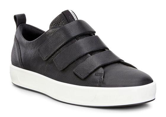 ECCO Mens  Soft 8 3-Strap Sneaker (BLACK)
